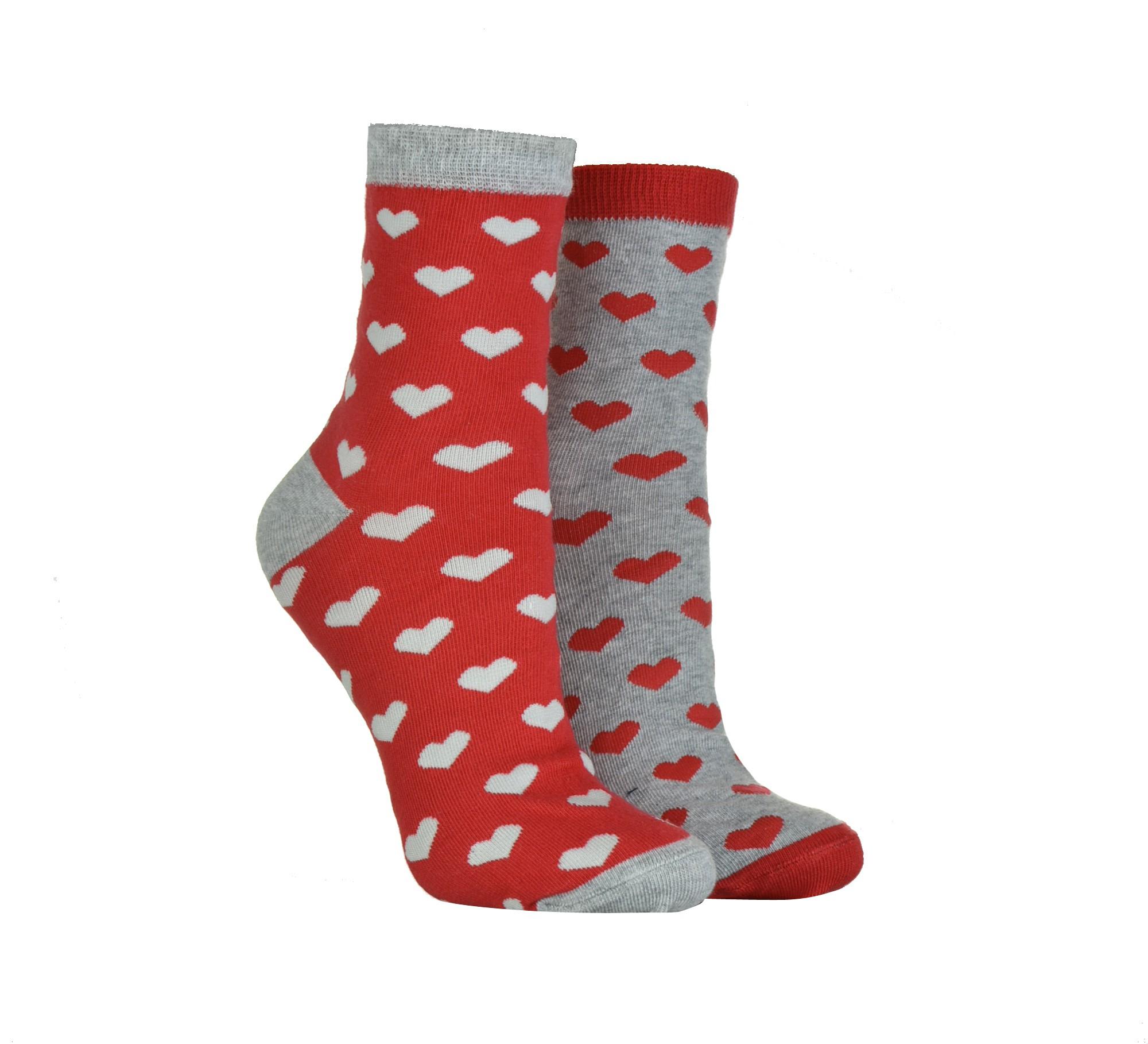 Skarpety damskie wzorzyste marki MILENA wzór Walentynki