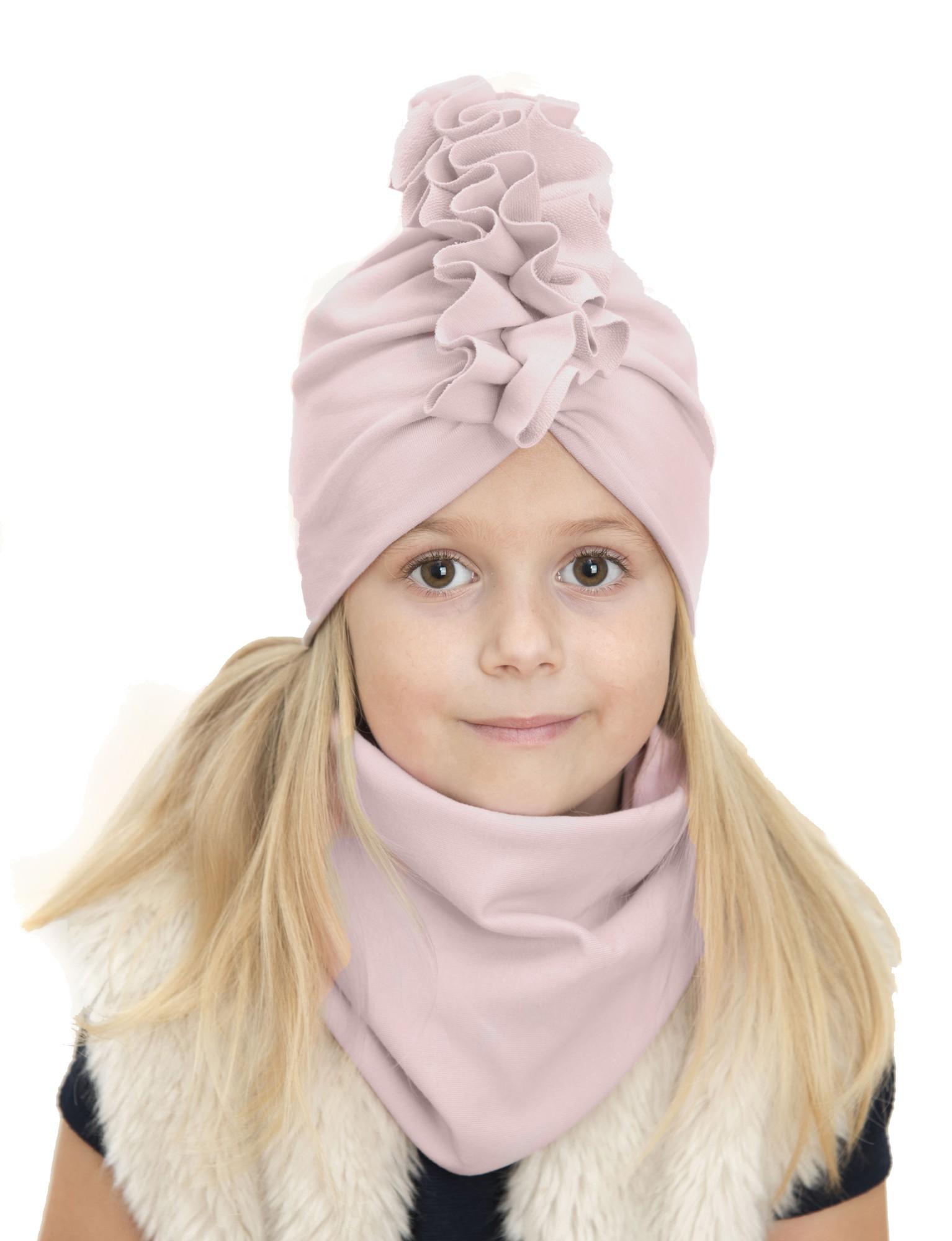 Zestaw Turban + Komin dla dzieci kolor pudrowy róż