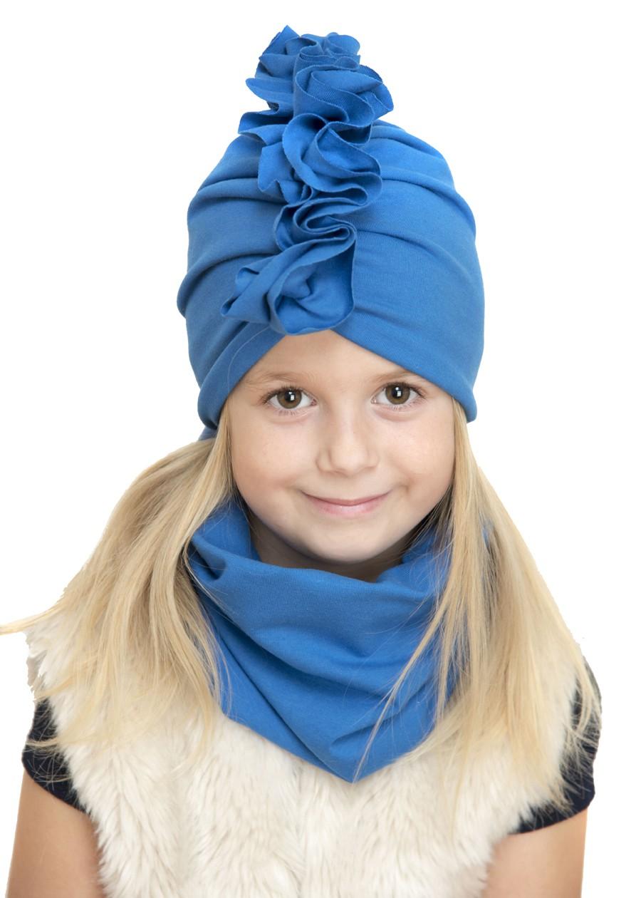 Zestaw Turban + Komin dla dzieci kolor niebieski