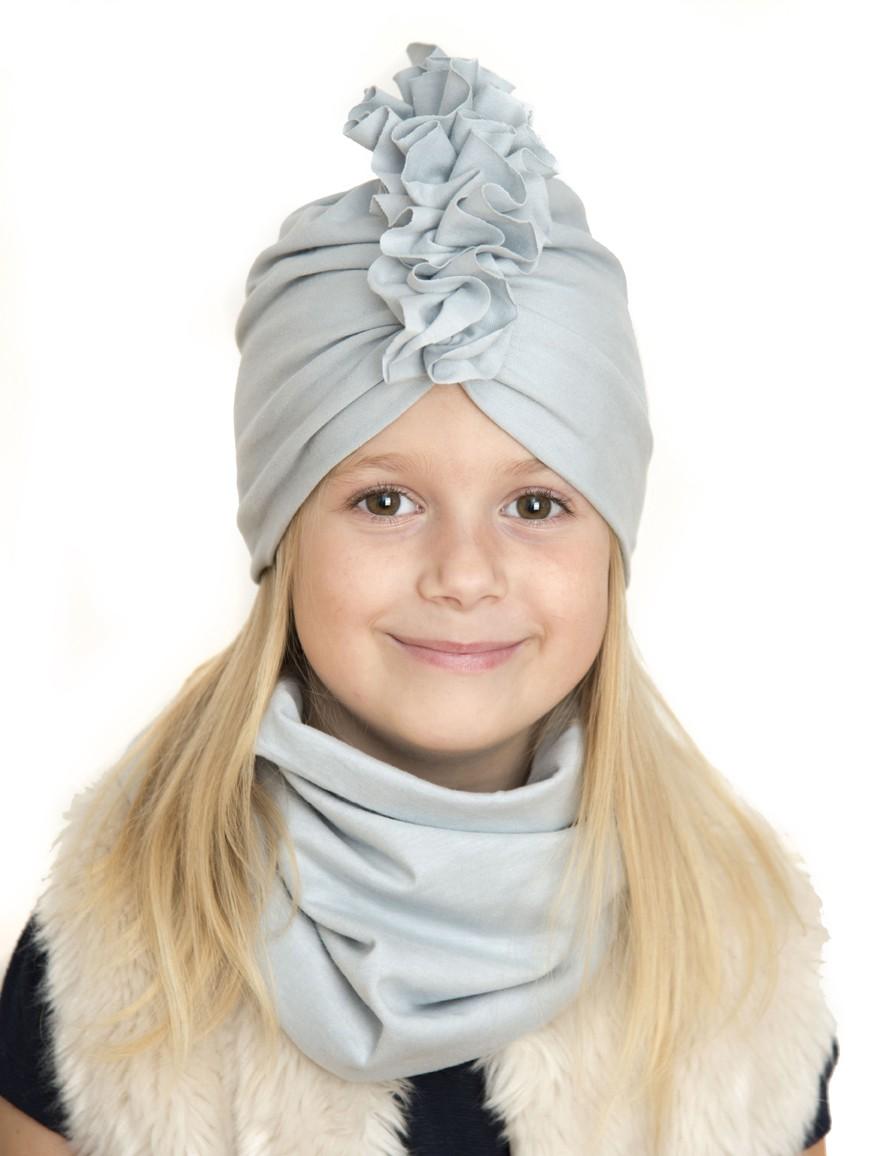 Zestaw Turban + Komin dla dzieci kolor szary