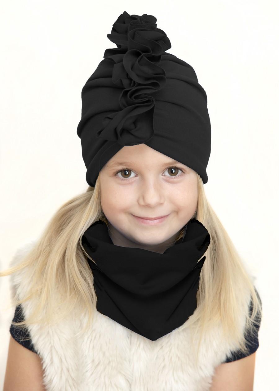 Zestaw Turban + Komin dla dzieci kolor czarny