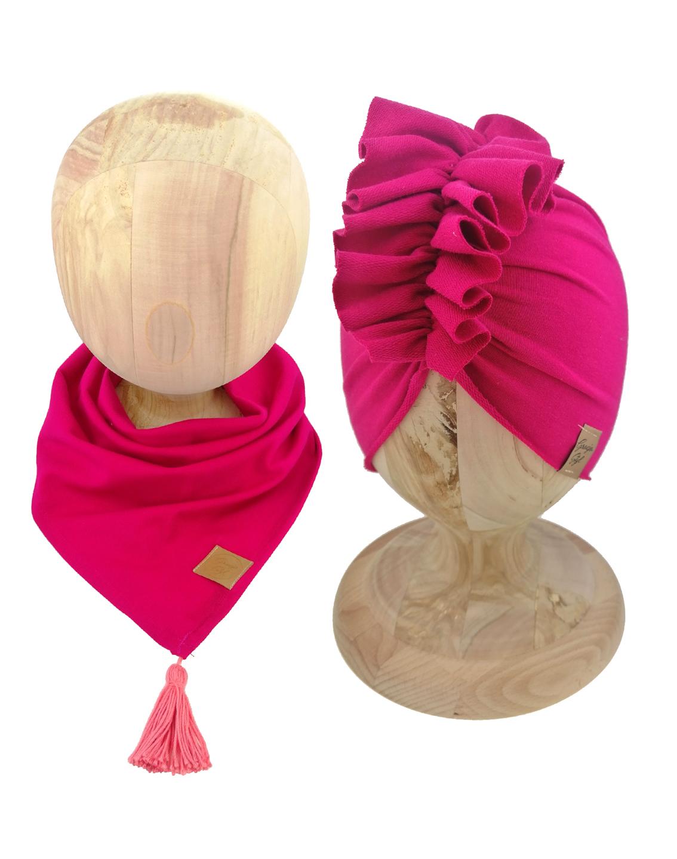 Zestaw czapka turban z chustą. Uszyty z pojedynczej miłej w dotyku dresówki. Marka Gracja Styl. Kolor amarant