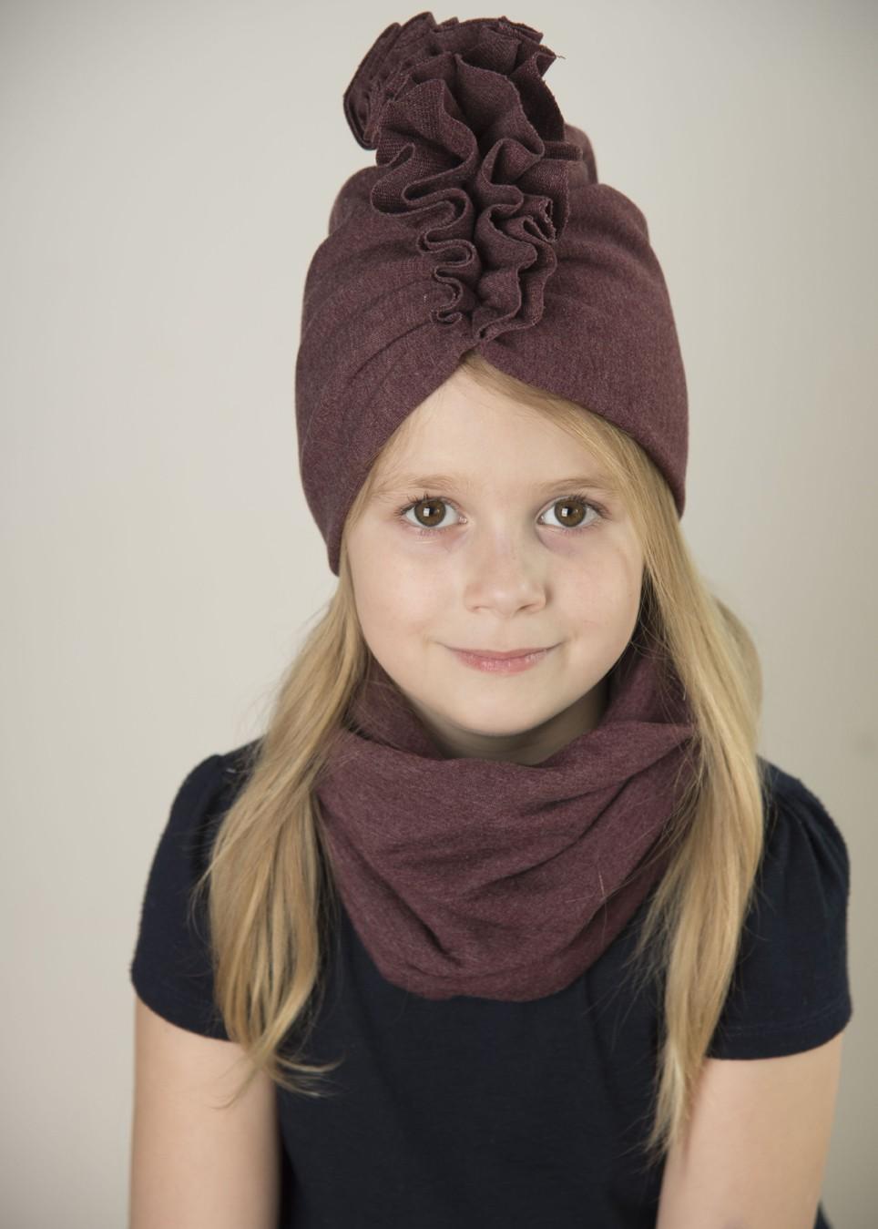 Zestaw Turban + Komin dla dzieci kolor bordo