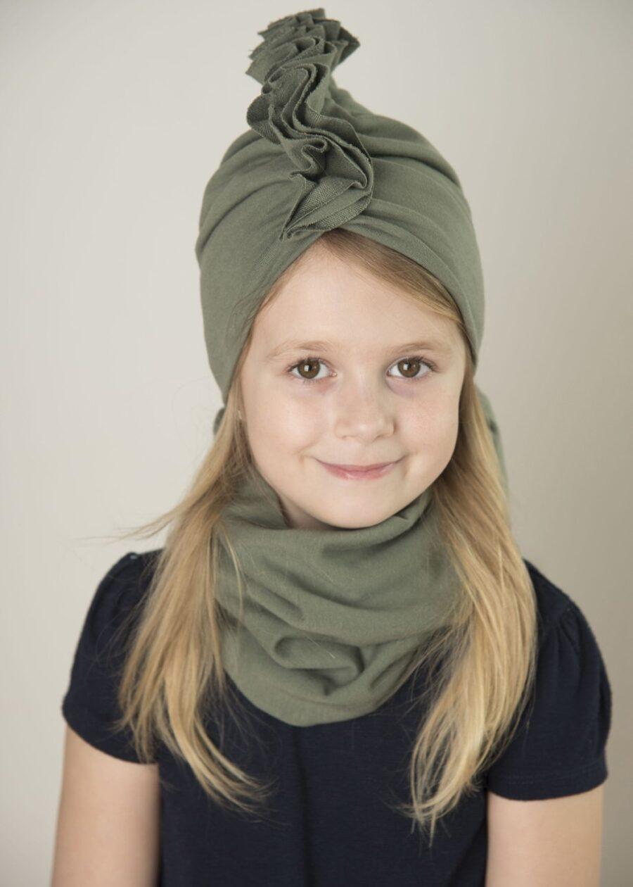 Zestaw Turban + Komin dla dzieci kolor khaki
