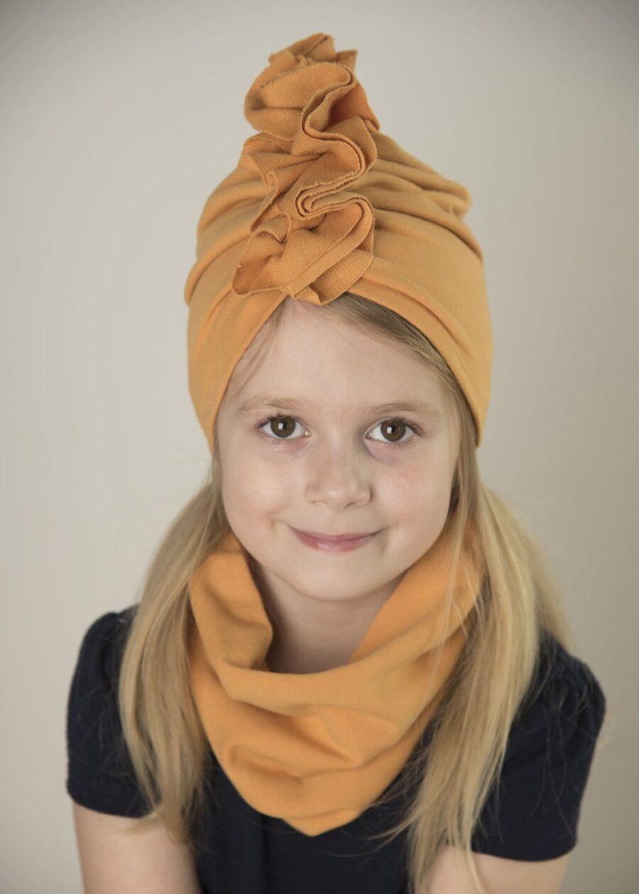 Zestaw Turban + Komin dla dzieci kolor musztardowy