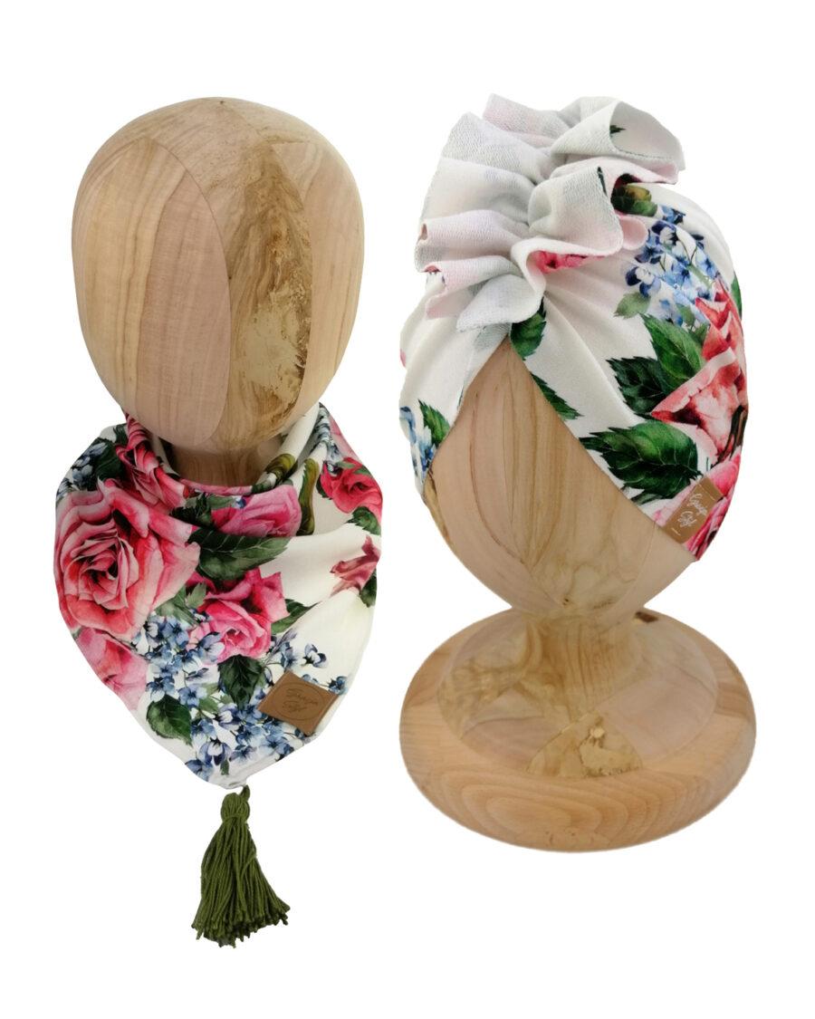 Zestaw czapka turban z chustą. Uszyty z pojedynczej miłej w dotyku dresówki. Marka Gracja Styl. Wzór miss rose
