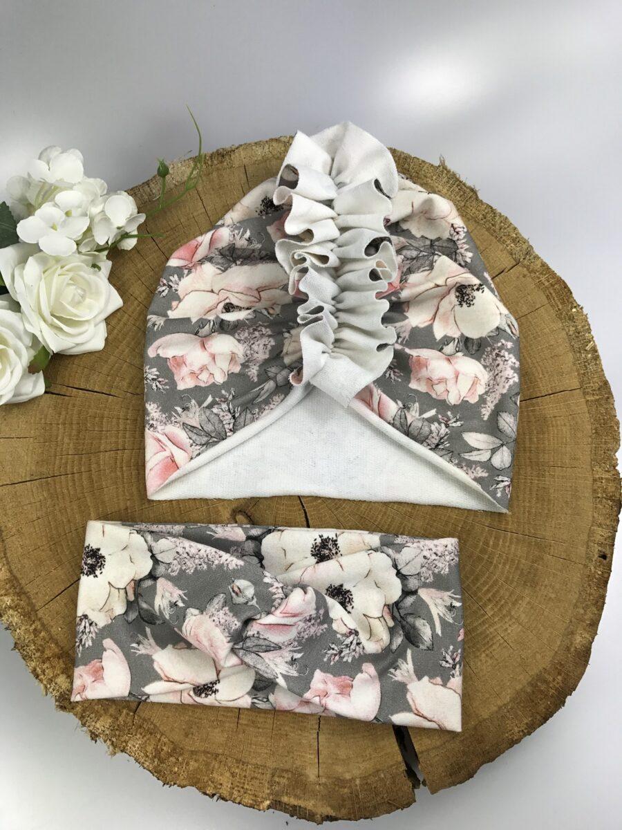 Zestaw Turban + Opaska TWIST dla dzieci wzór flowers on gray
