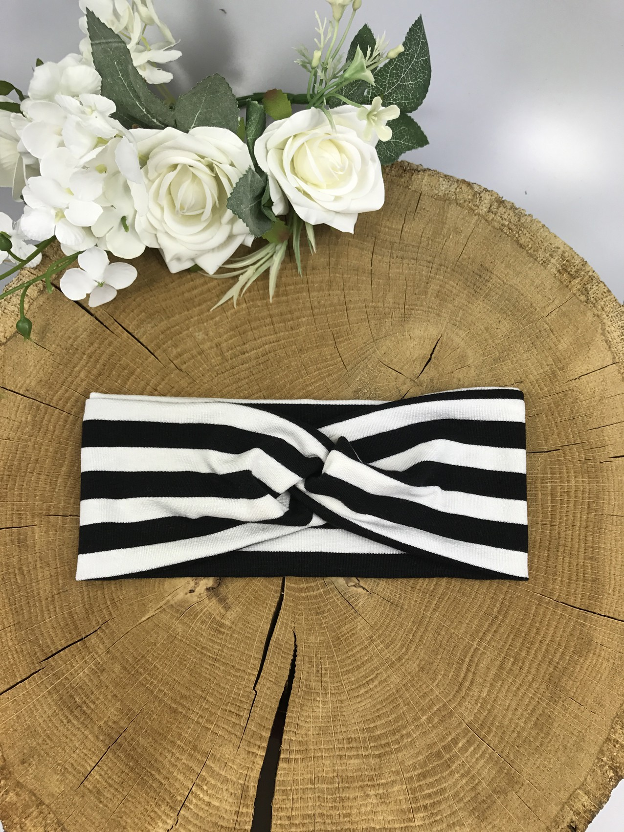 Opaska TWIST Dziecięca przeplatana z wiskozy wzór paski biało-czarne