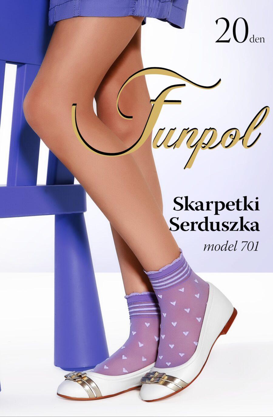 4 pary Skarpetki FUN-POL wzór SERCA 20 DEN