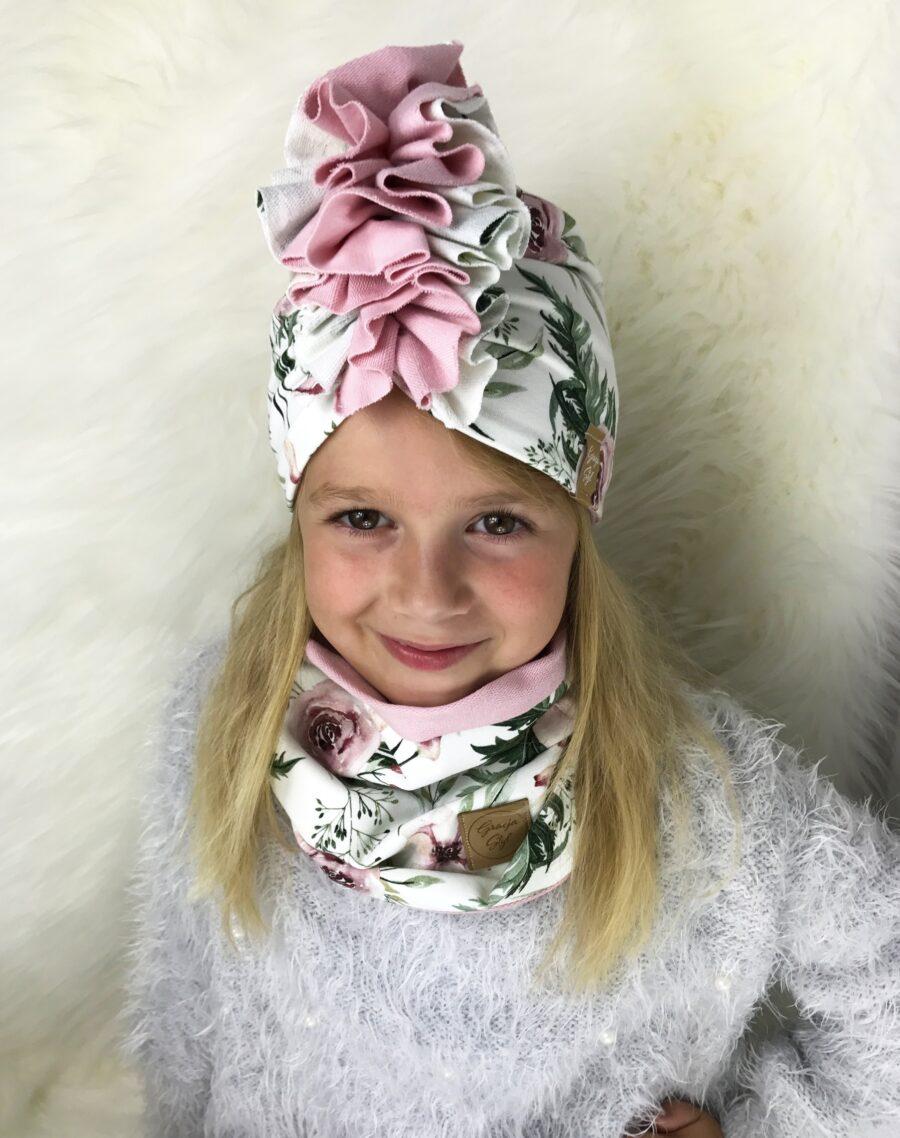 Zestaw Turban + Komin dla dzieci duo kolor garden+ pudrowy róż