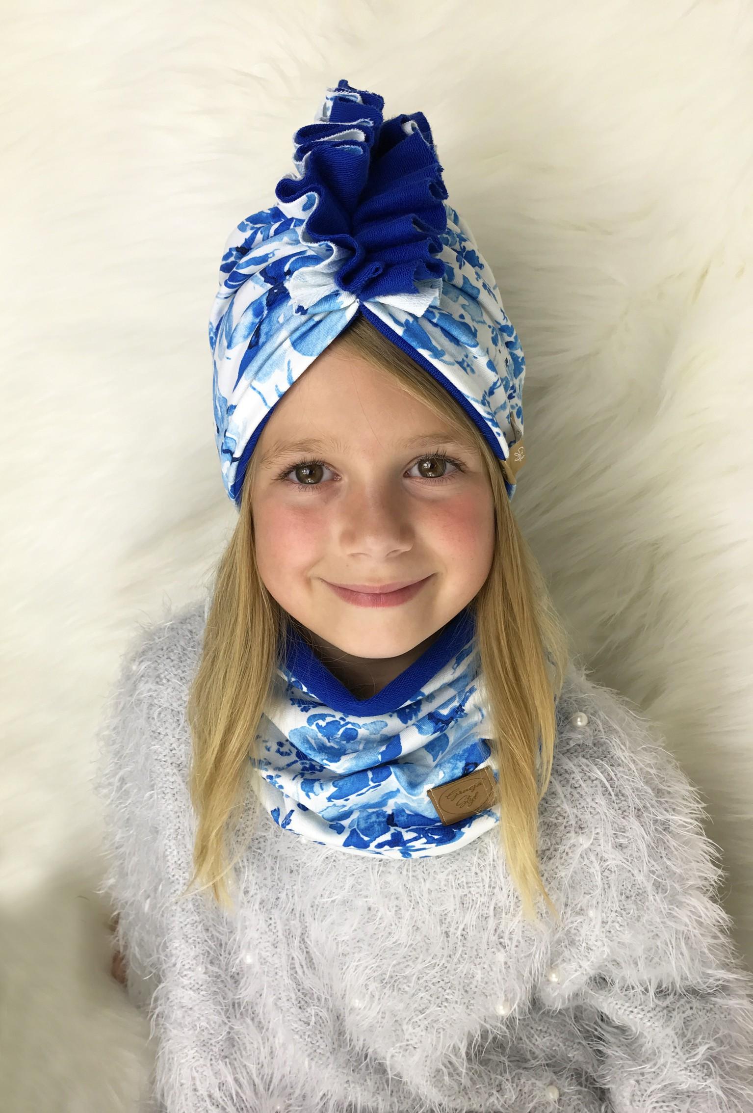 Zestaw Turban + Komin dla dzieci duo kolor Blue Garden+ Niebieski