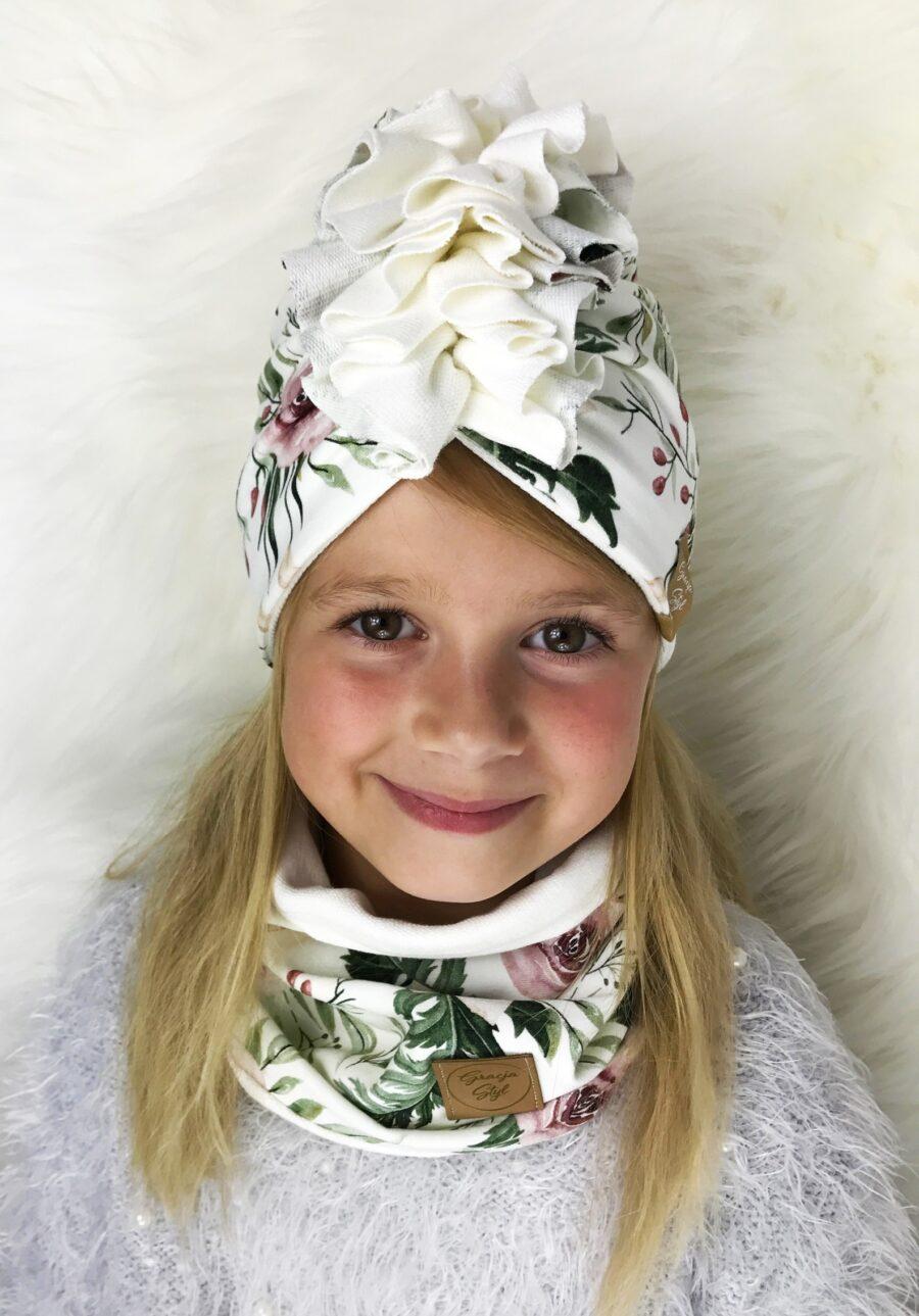 Zestaw Turban + Komin dla dzieci duo kolor Garden+ Ecru