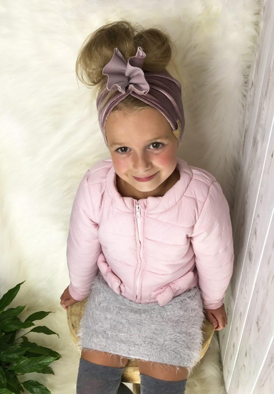 Opaska MOTYLAK dla dzieci z WELURU kolor pudrowy-róż