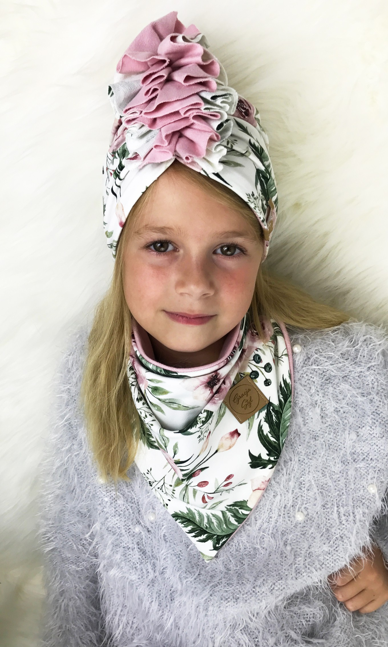 Zestaw Turban + Chusta dla dzieci duo kolor garden+ pudrowy róż