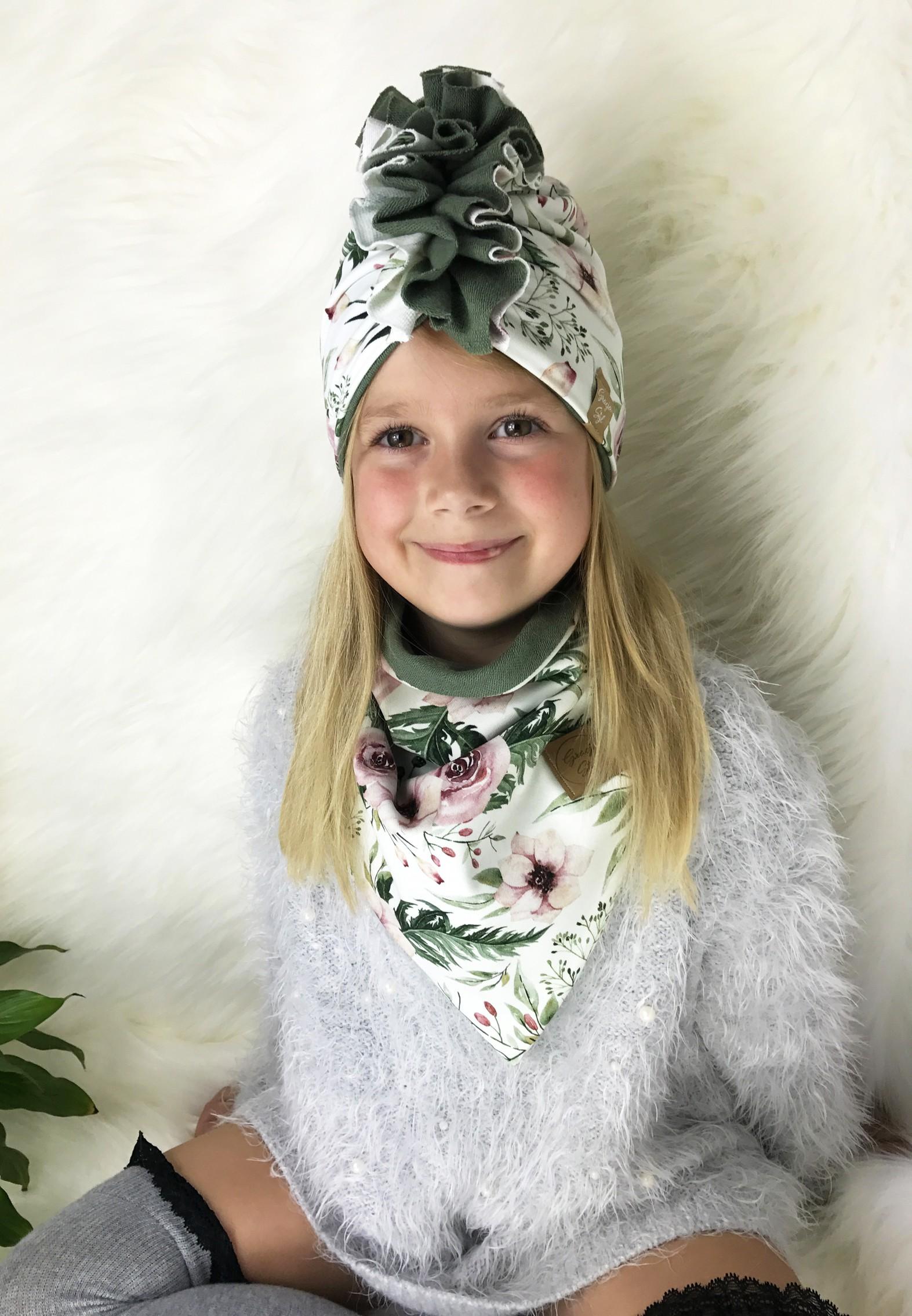 Zestaw Turban + Chusta dla dzieci duo kolor garden+ khaki