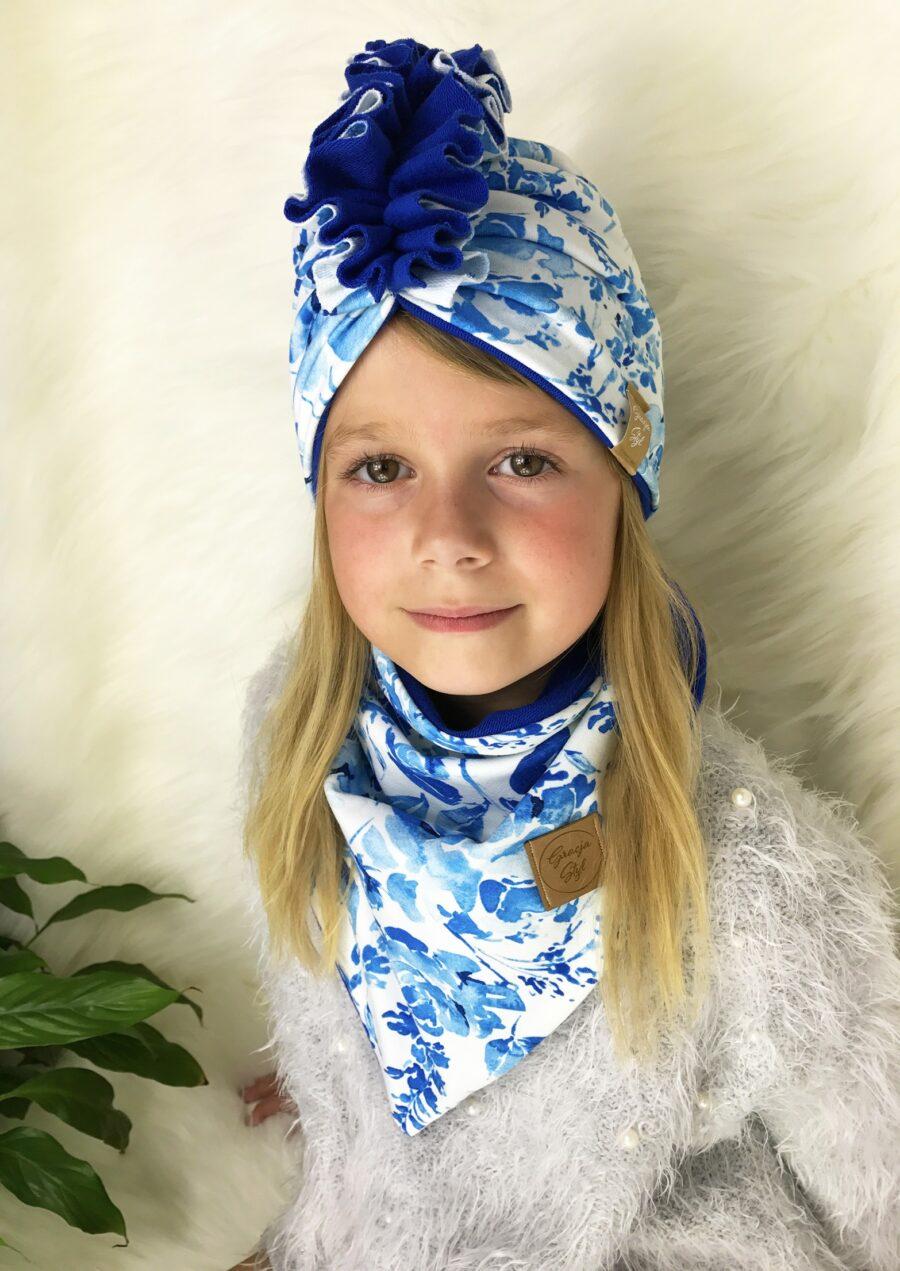 Zestaw Turban + Chusta dla dzieci duo kolor blue garden + niebieski