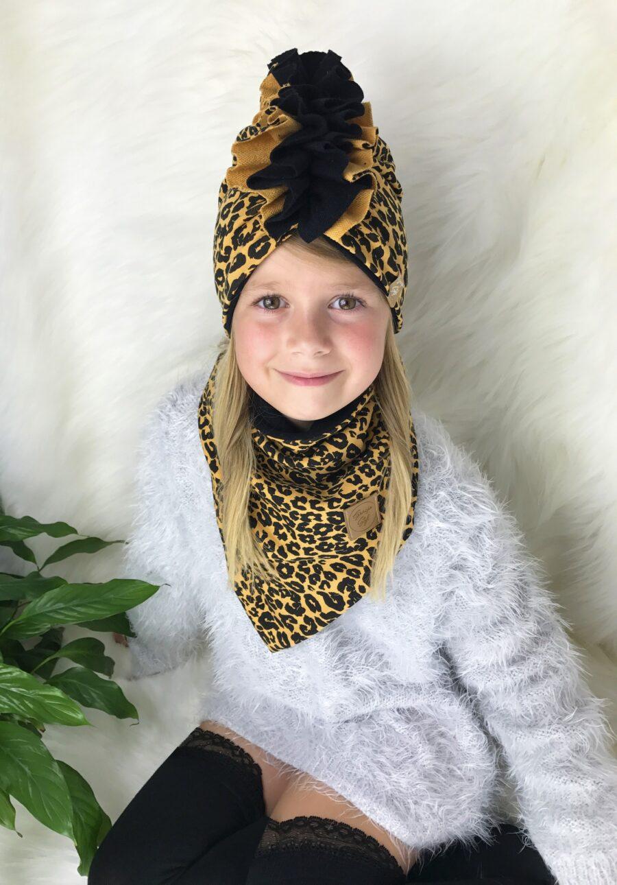 Zestaw Turban + Chusta dla dzieci duo kolor panterka+ czarny