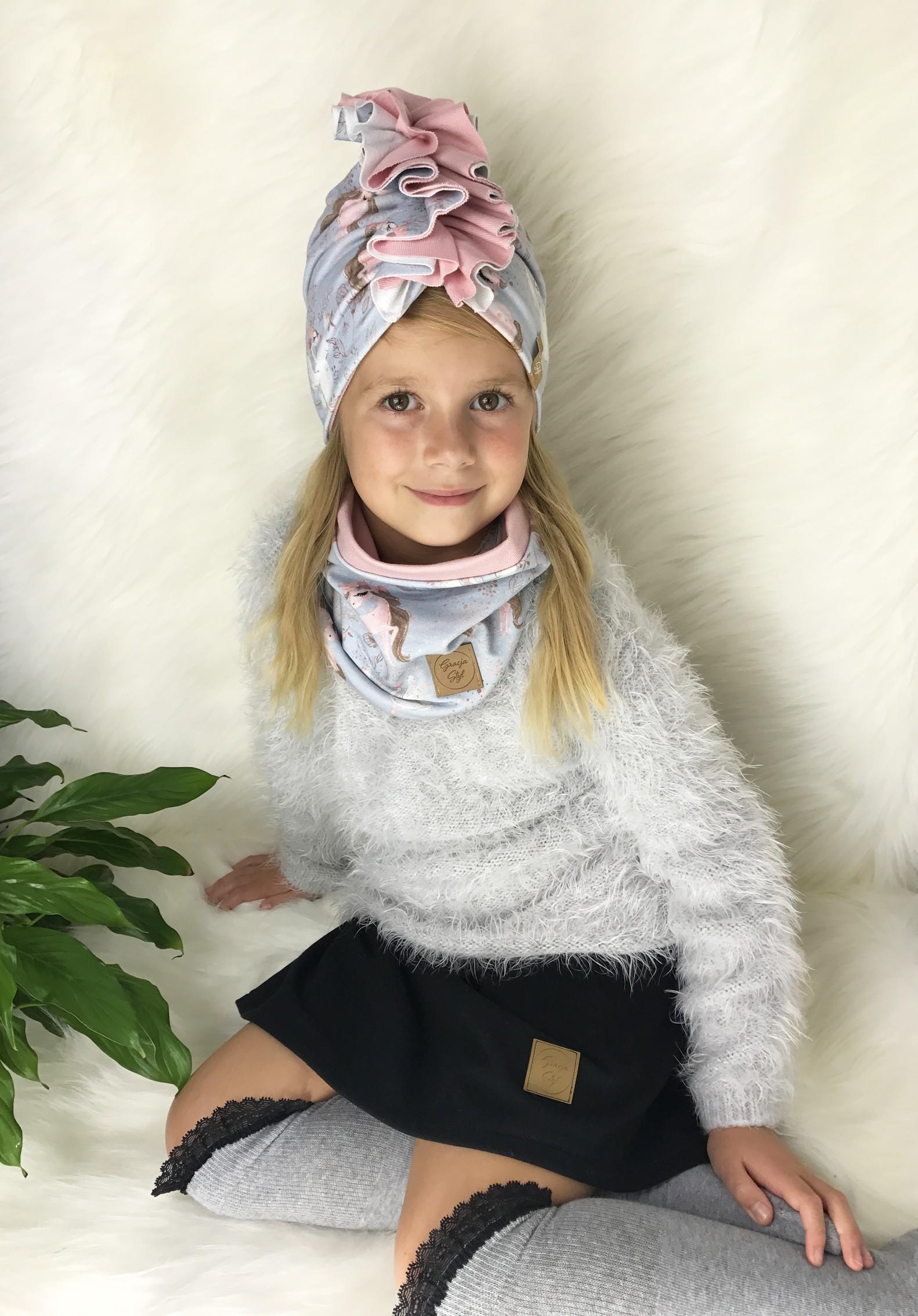 Zestaw Turban + Komin dla dzieci duo kolor Pony + pudrowy róż