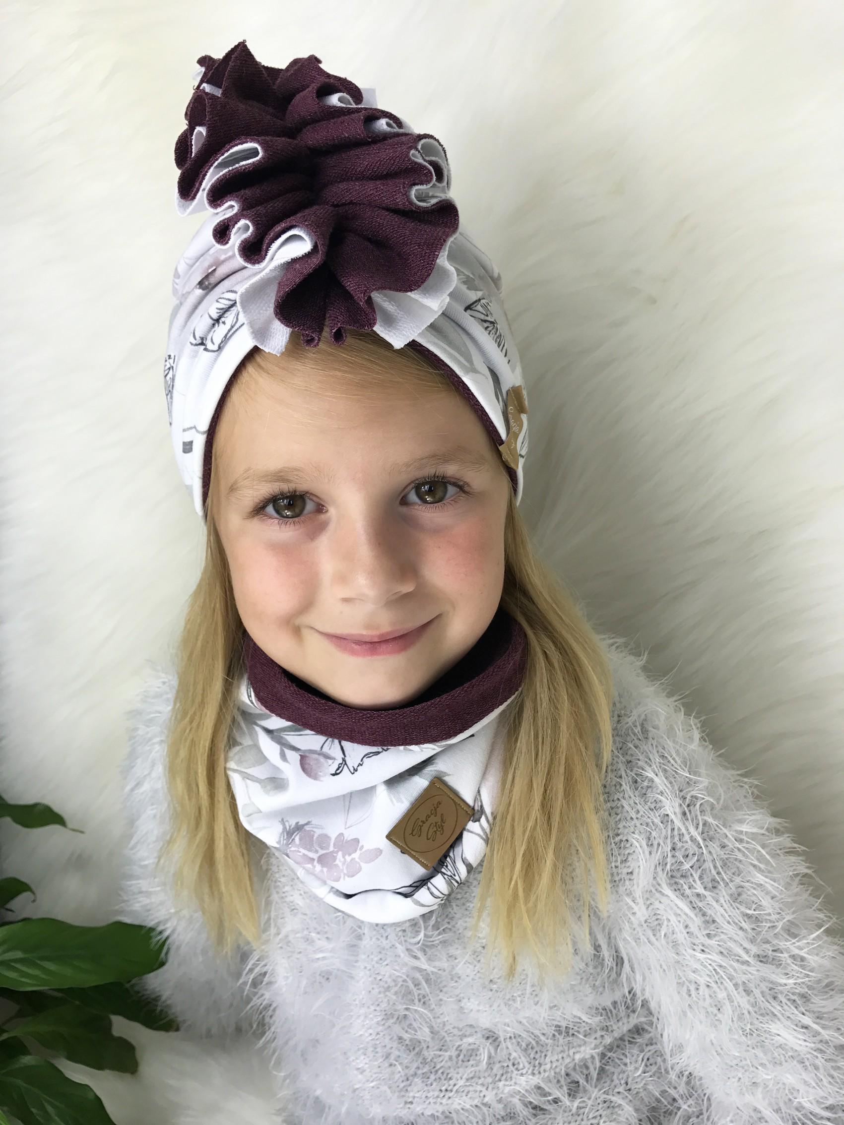 Zestaw Turban + Komin dla dzieci duo kolor Flowers + bordo