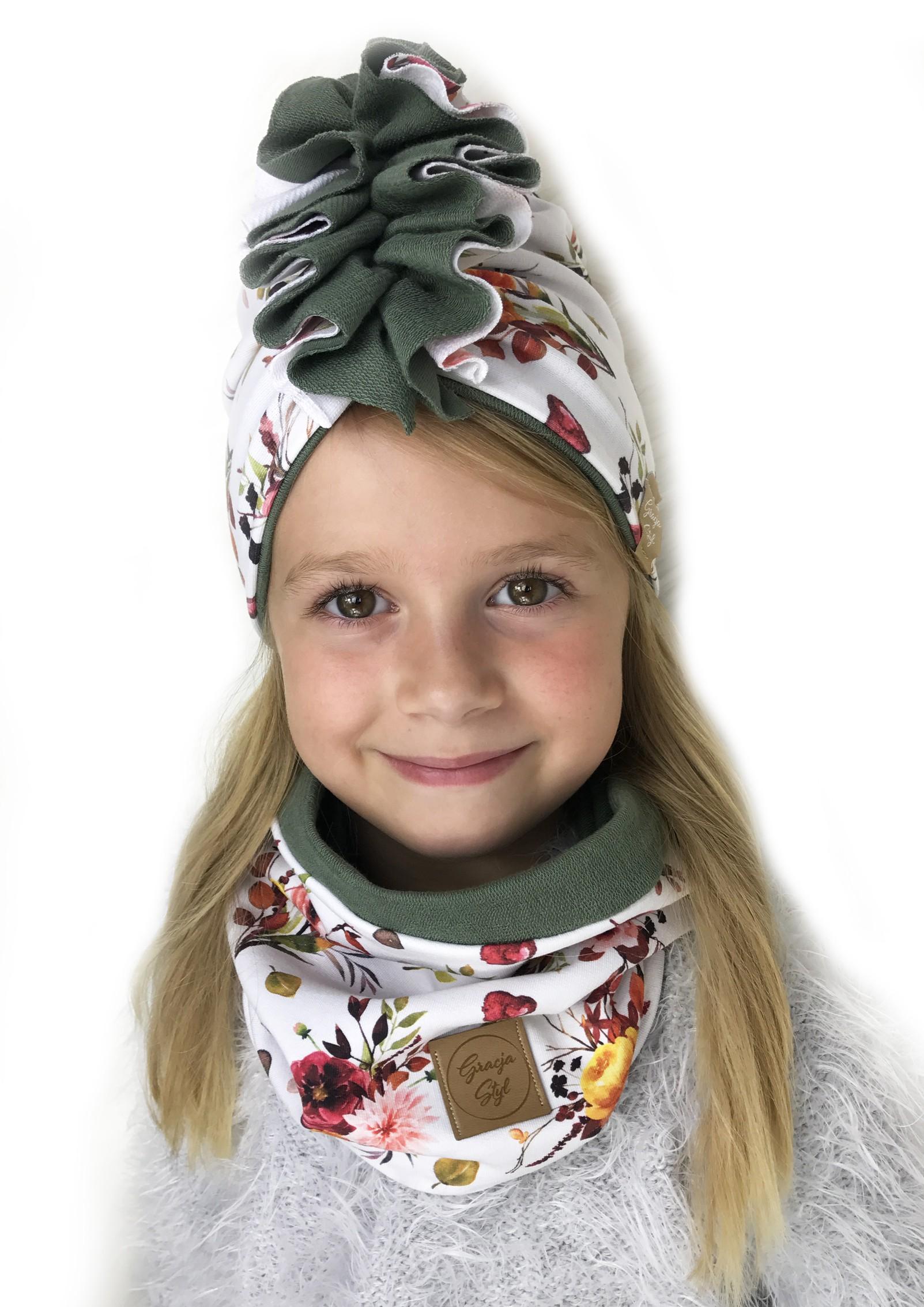 Zestaw Turban + Komin dla dzieci duo kolor Flowers + khaki