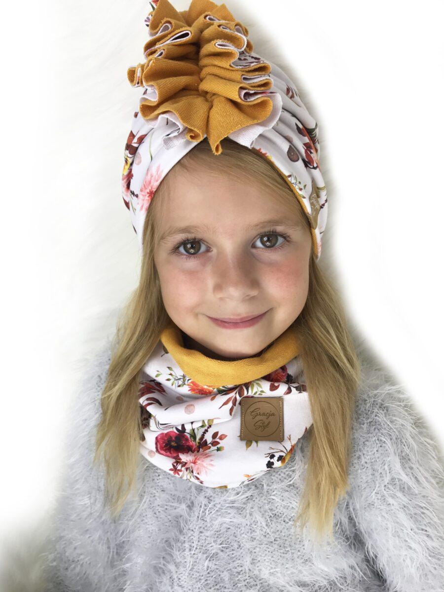 Zestaw Turban + Komin dla dzieci duo kolor Flowers + Musztardowy