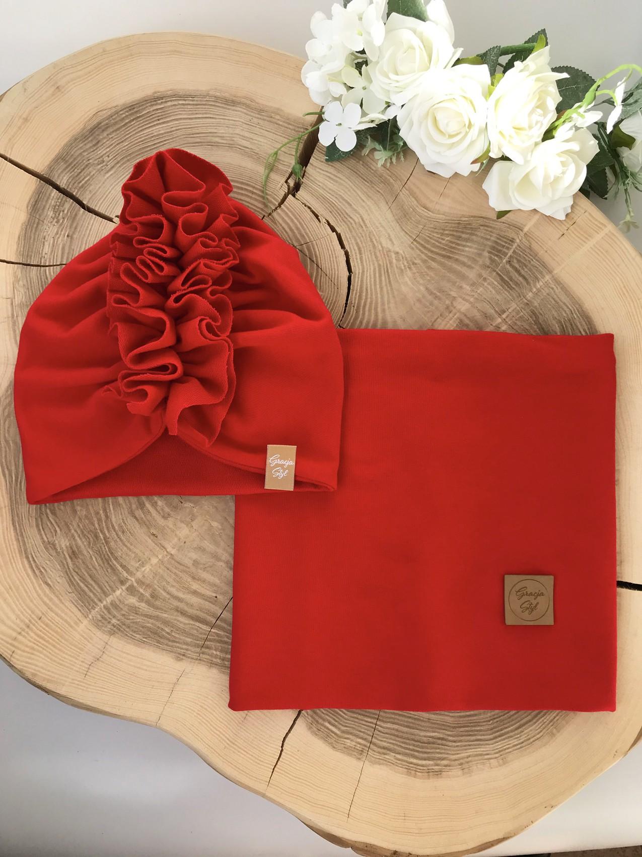 Zestaw Turban + Komin dla dzieci kolor Czerwony
