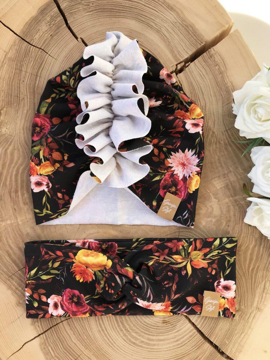 Zestaw Turban + Opaska TWIST dla dzieci wzór Flowers