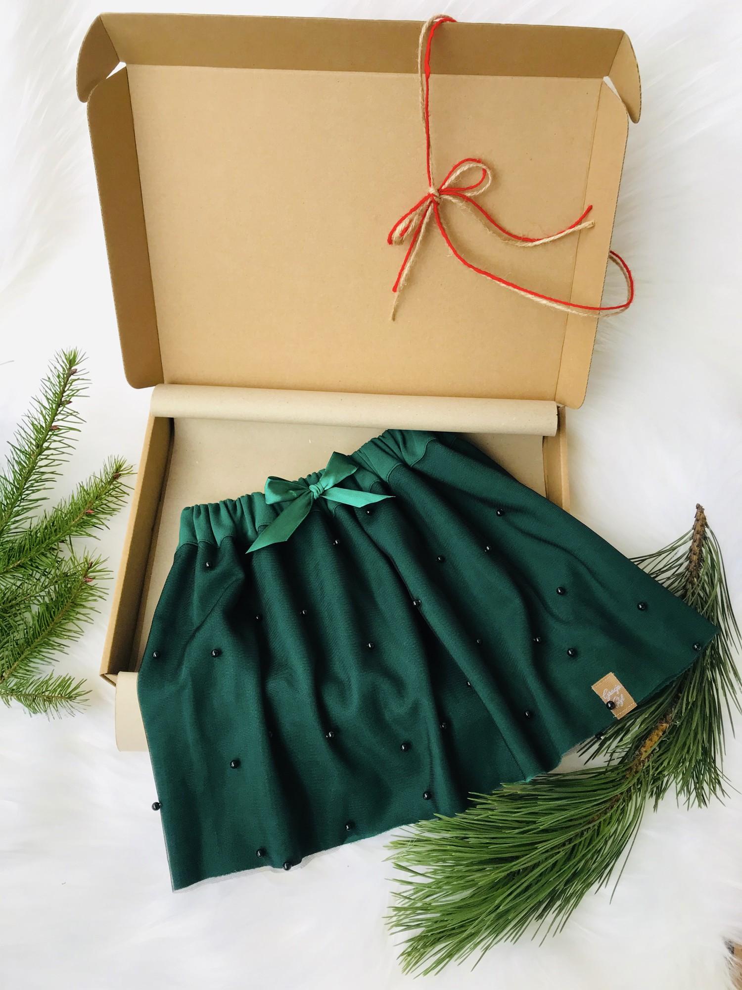 Cudowna Bawełniano-tiulowa Spódniczka kolor butelkowa zieleń
