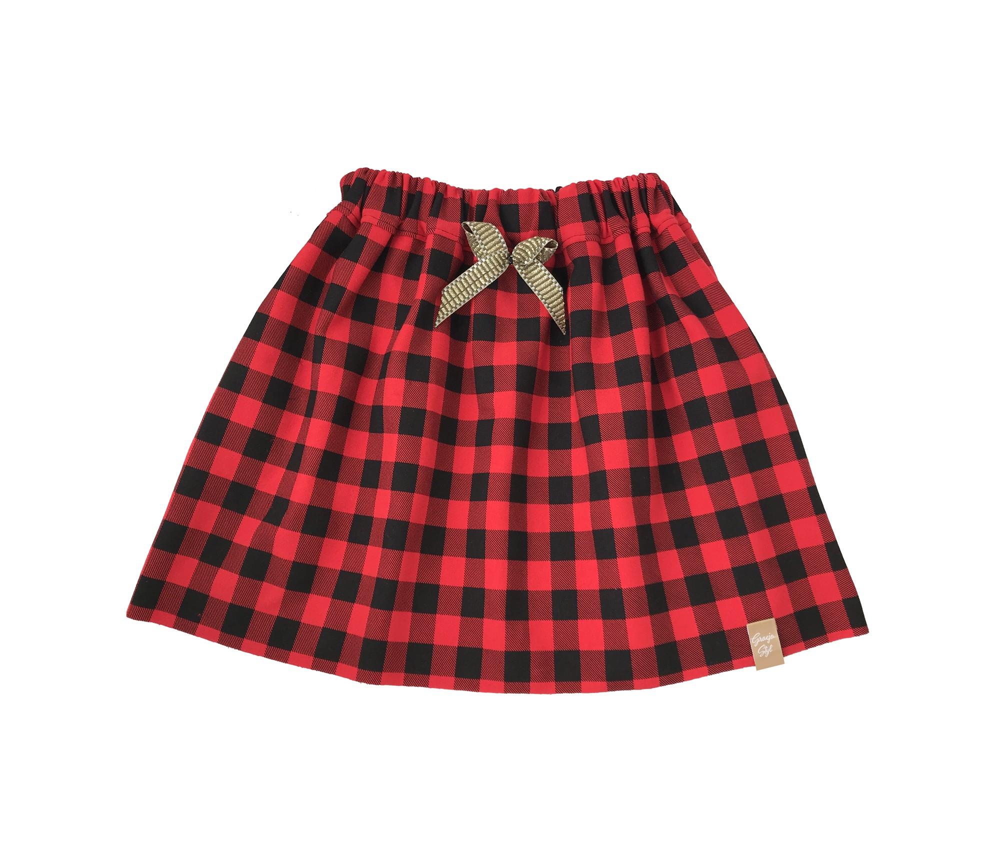 Bawełniana spódniczka dziecięca wzór kratka czerwono-czarna