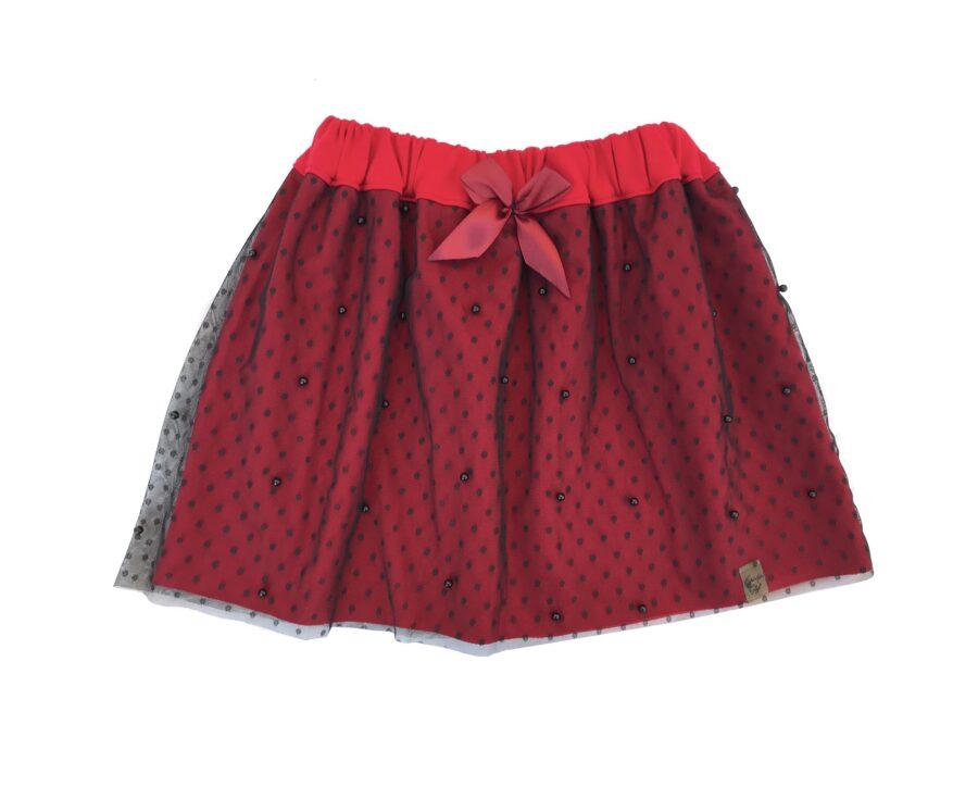 Cudowna Bawełniano-tiulowa Spódniczka kolor czerwony