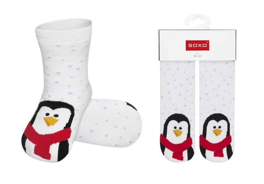 Świąteczne skarpety dla niemowlaka SOXO wzór Pingwinek