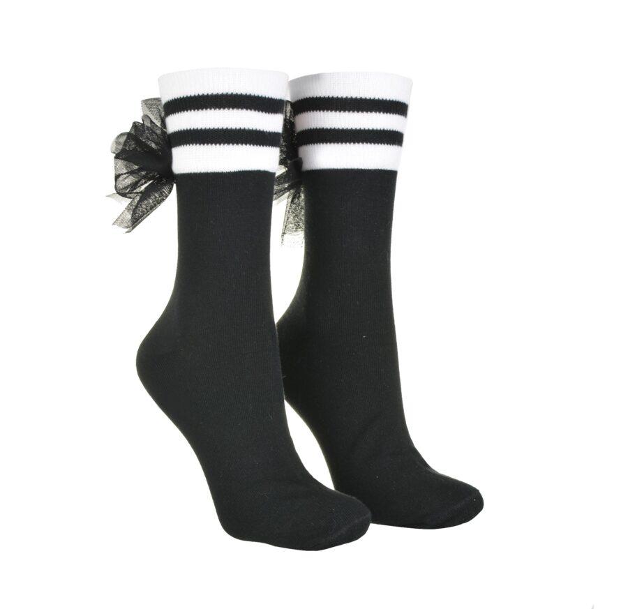 Skarpetki damskie z kokardką tiulową kolor czarny