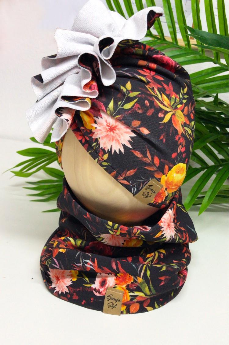 Zestaw Turban + Komin dla dzieci wzór black flowers