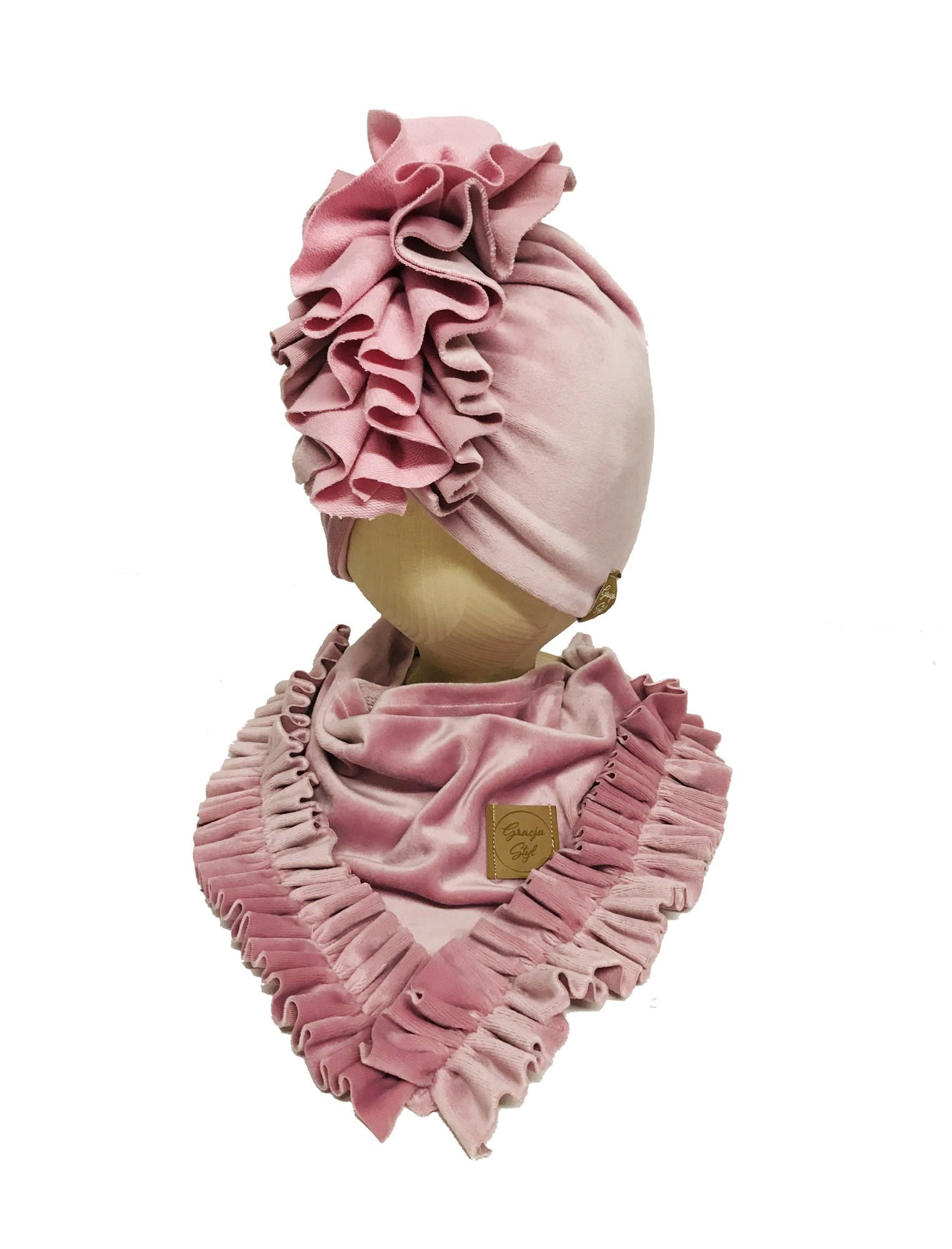 Piękny zestaw z weluru Turban + chusta pudrowy róż