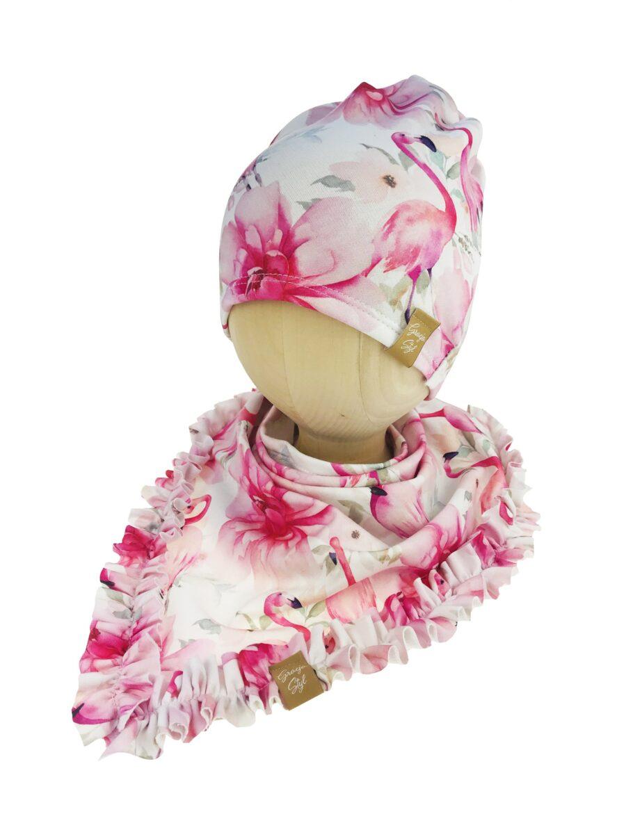 Piękny zestaw dla dziewczynki Czapka + chusta wzór flaming
