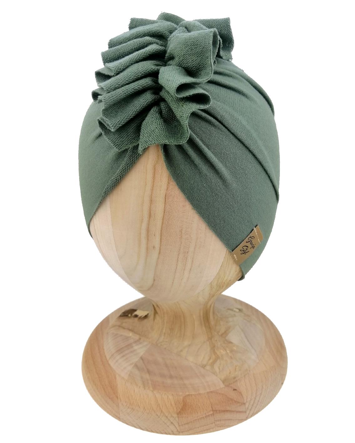 Czapka turban dziecięca marki Gracja styl. Kolor khaki. Produkt polski wykonany z bawełny pętelkowej typu dresówka.