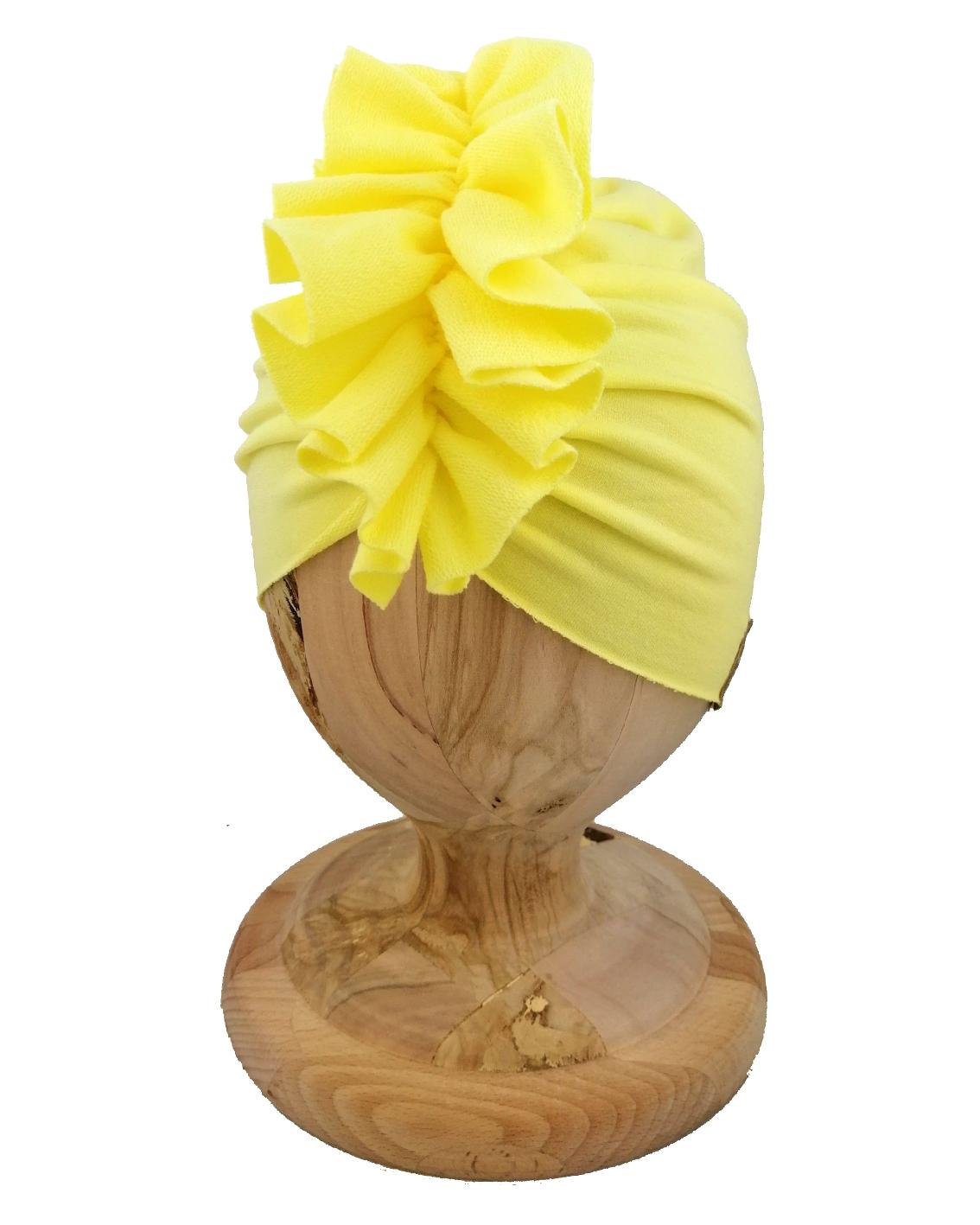 Czapka turban dziecięca marki Gracja styl. Kolor zółty kanarkowy. Produkt polski wykonany z bawełny pętelkowej typu dresówka.