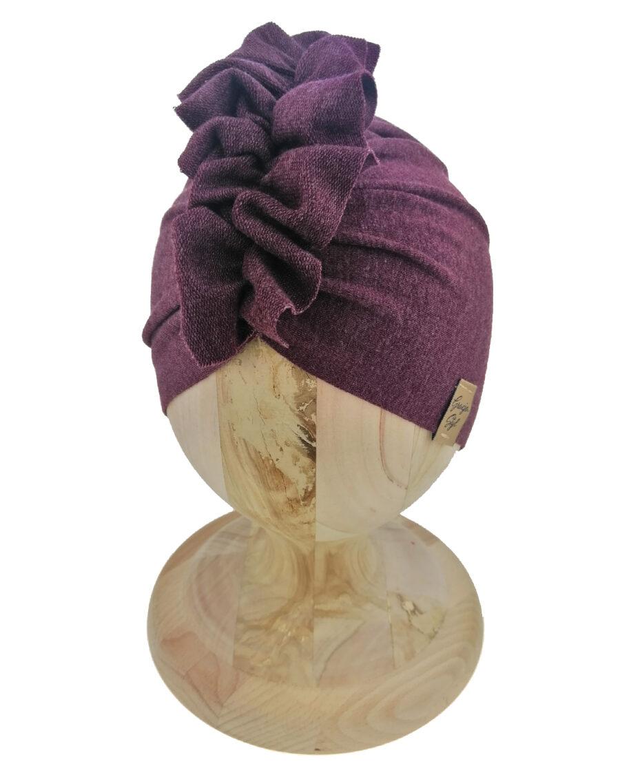 Czapka turban dziecięca marki Gracja styl. Kolor bordowy melanż. Produkt polski wykonany z bawełny pętelkowej typu dresówka.