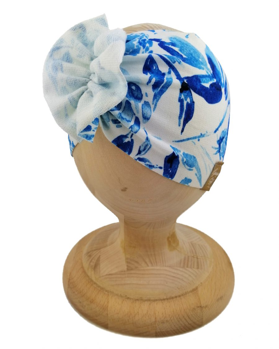 Opaska dziewczęca motylak. Uszyta z bawełny pętelkowej typu dresówka. Wzór blue garden. Marka Gracja Styl.