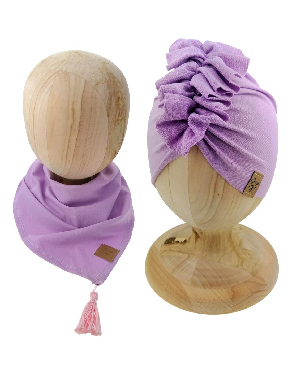 Zestaw czapka turban z chustą. Uszyty z pojedynczej miłej w dotyku dresówki. Marka Gracja Styl. Kolor liliowy
