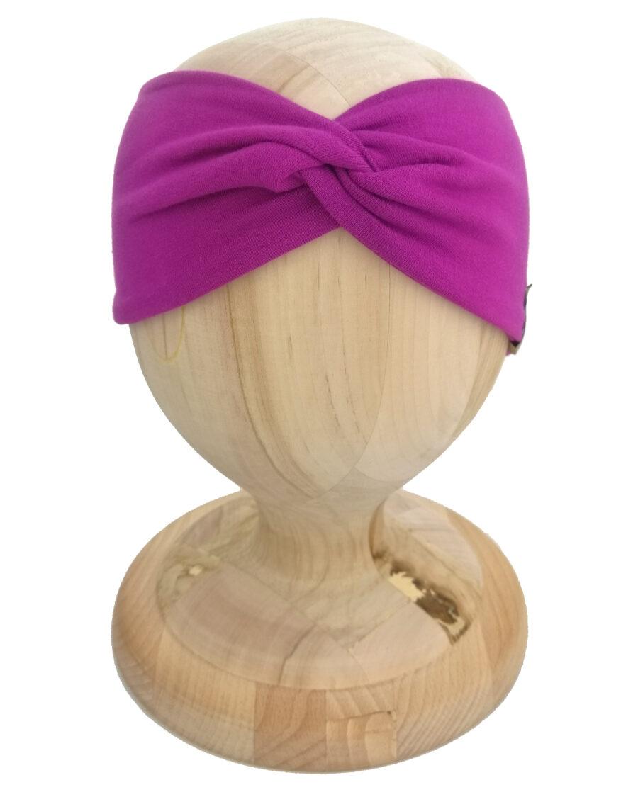 Opaska Twist dla dziecka kolor fioletowy. Uszyta z bawełny pętelkowej.