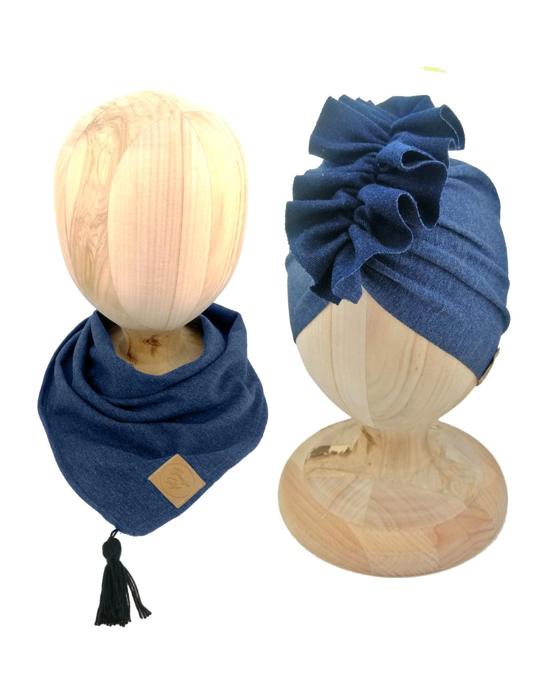 Zestaw czapka turban z chustą. Uszyty z pojedynczej miłej w dotyku dresówki. Marka Gracja Styl. Kolor jeans