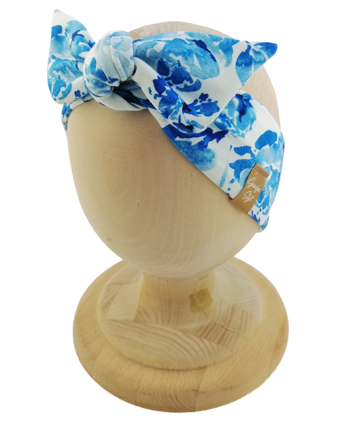 Opaska kobieca typu Pin-up marki Gracja Styl. Uszyta z bawełny petelkowej typu dresówka. Wzór blue garden.