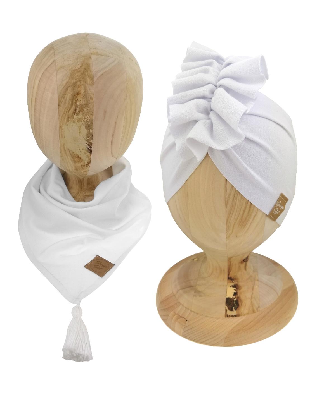 Zestaw czapka turban z chustą. Uszyty z pojedynczej miłej w dotyku dresówki. Marka Gracja Styl. Kolor fioletowy