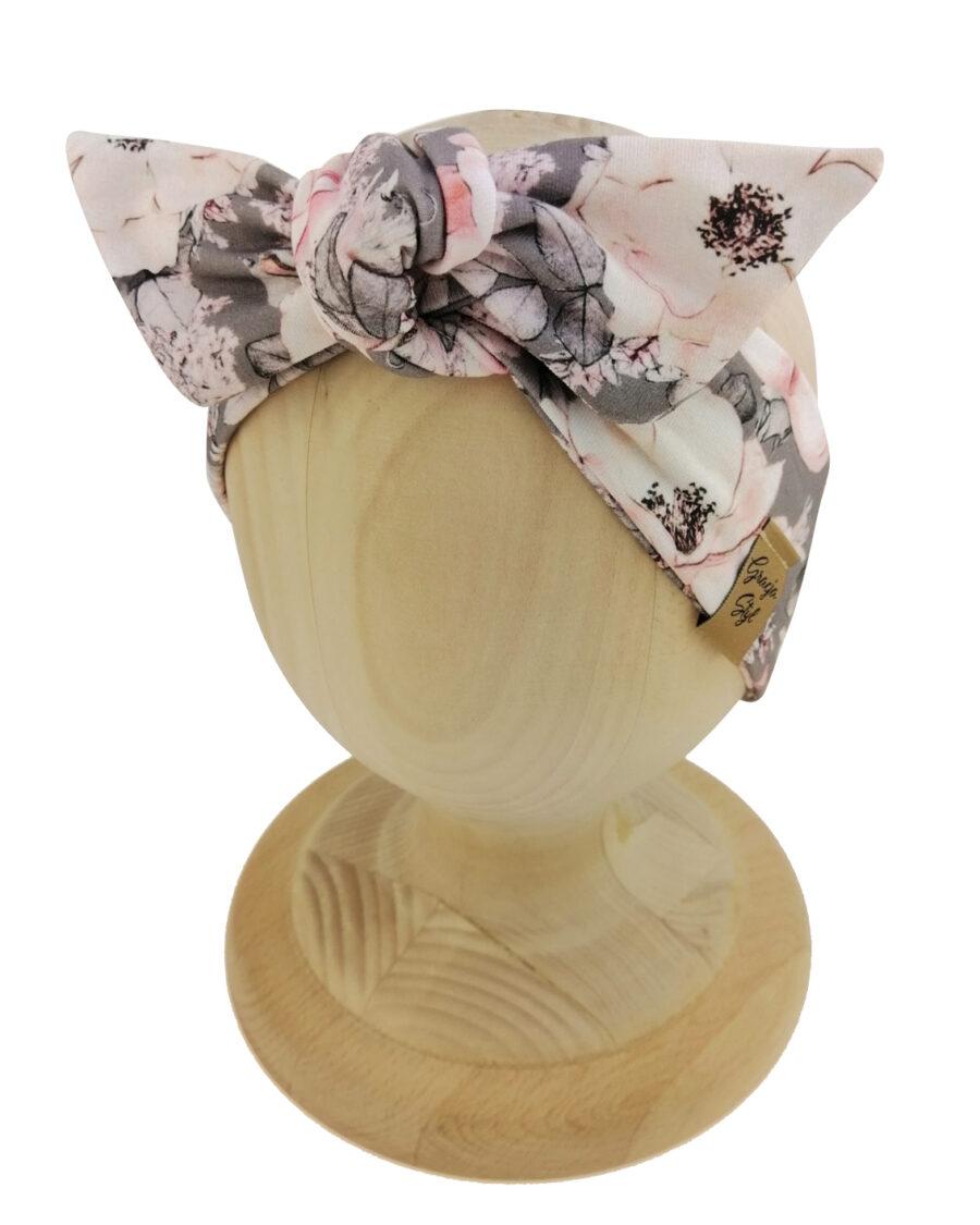 Opaska kobieca typu Pin-up marki Gracja Styl. Uszyta z bawełny petelkowej typu dresówka. Wzór flowers gray.