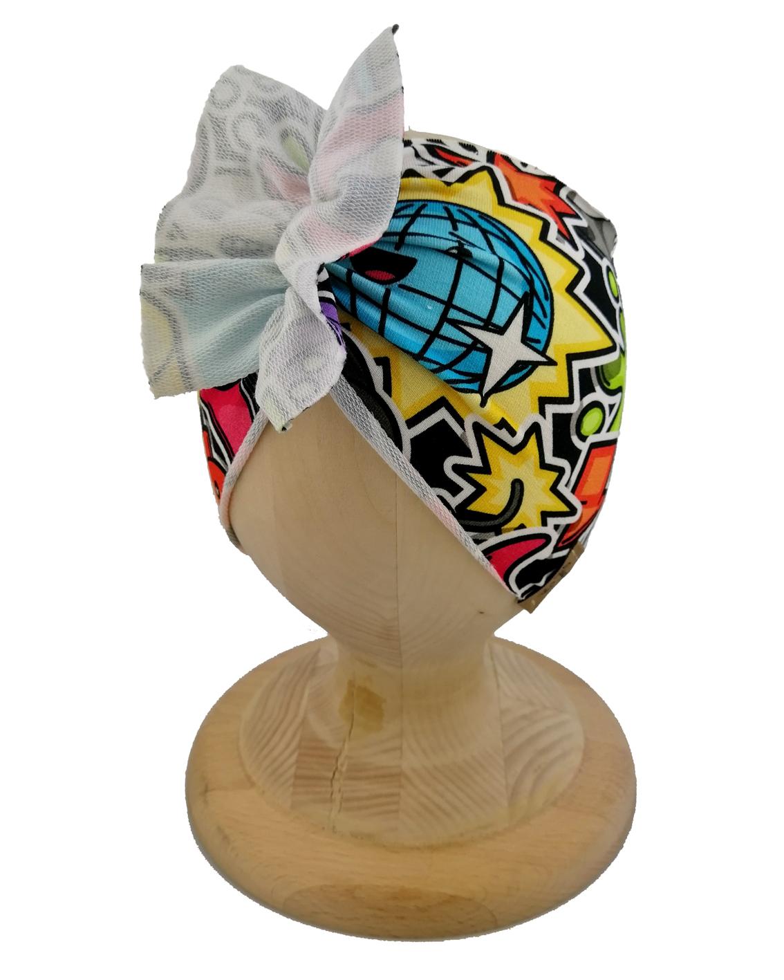 Opaska dziewczęca motylak. Uszyta z bawełny pętelkowej typu dresówka. Wzór graffiti. Marka Gracja Styl