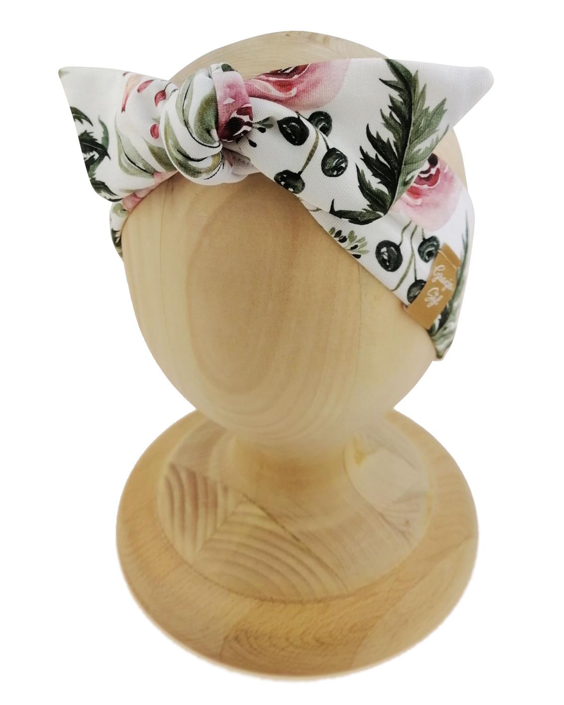 Opaska kobieca typu Pin-up marki Gracja Styl. Uszyta z bawełny petelkowej typu dresówka. Wzór garden.