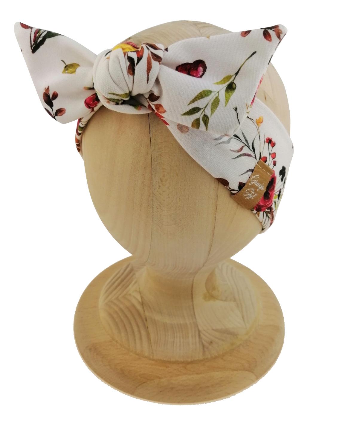Opaska kobieca typu Pin-up marki Gracja Styl. Uszyta z bawełny petelkowej typu dresówka. Wzór kwiatowy pani jesień