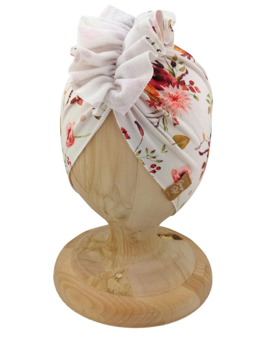 Czapka turban dziecięca marki Gracja styl. Wzór w kwiatki. Produkt polski wykonany z bawełny pętelkowej typu dresówka.