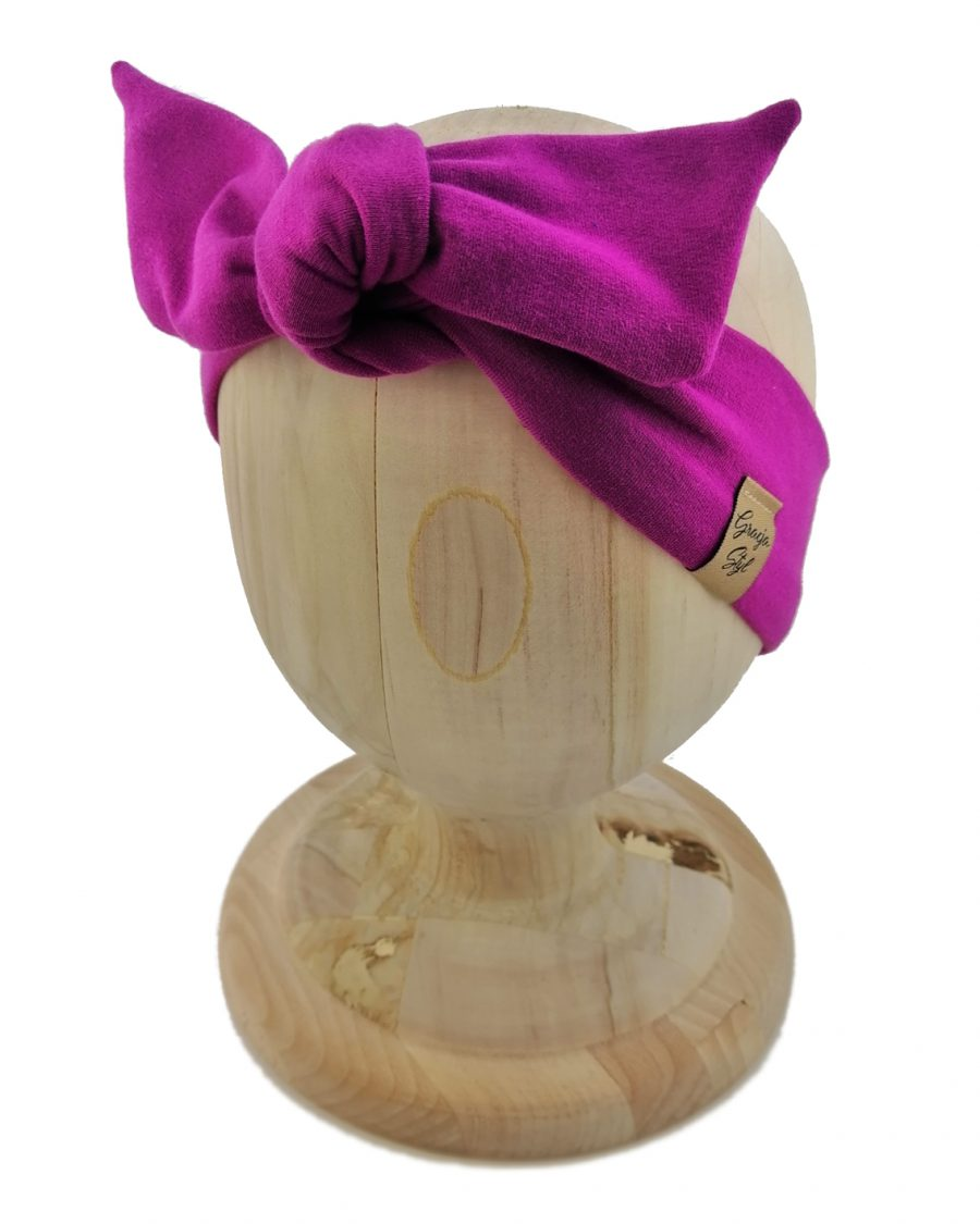 Opaska kobieca typu Pin-up marki Gracja Styl. Uszyta z bawełny petelkowej typu dresówka. Kolor fioletowy.